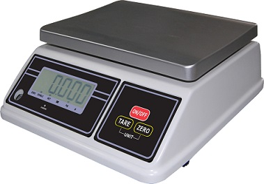Kitchen Table Portion Scales: WeighCo SW30 Commercial Kitchen Table Scale: 30kg x 1g. IP65 Waterproof Housing.